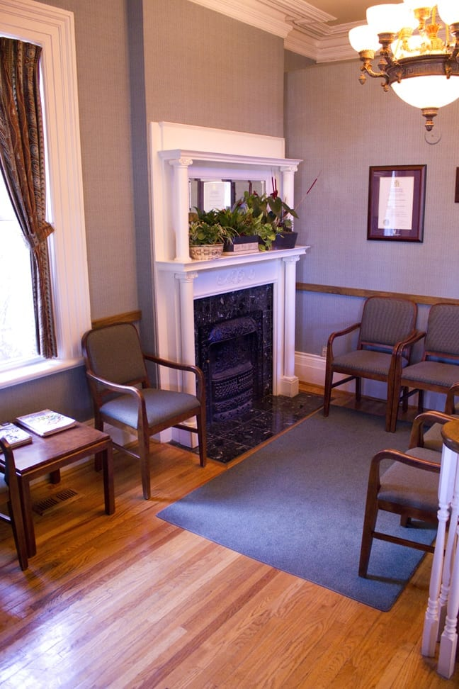 Patients waiting at our dental office enjoy the historical features of our building.