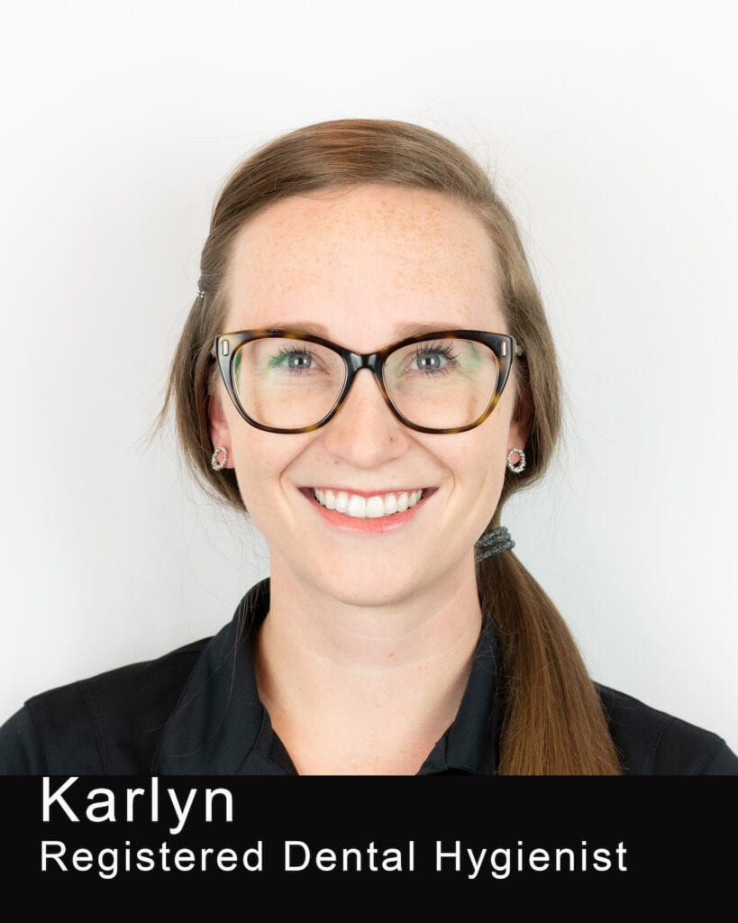 This Image shows Karlyn's photo. She is a registered Dental Hygienist at Maple Leaf Dentistry.