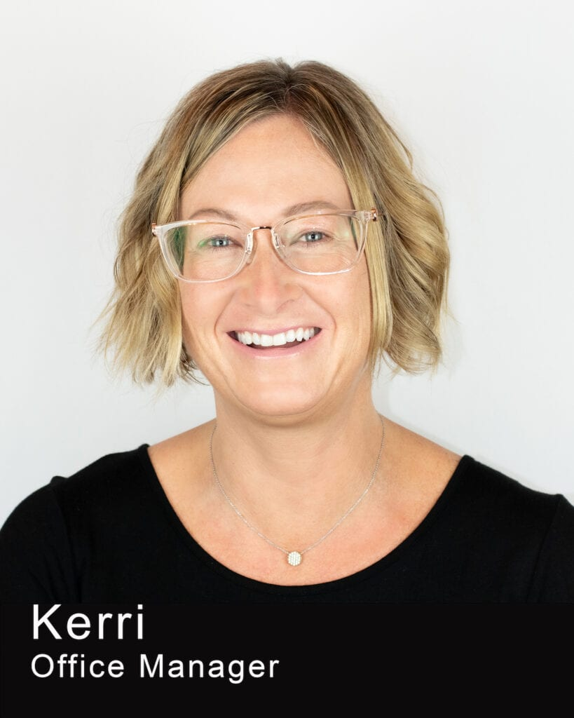 This Image shows Kerri's photo. She is a office manager at Maple Leaf Dentistry.